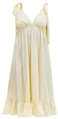 Loup Charmant Amalfi Checked Organic-cotton Midi Dress - Yellow Print