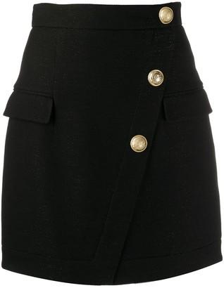 Balmain Buttoned Short Skirt