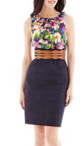 JCPenney Alyx Sleeveless Belted Floral Ruffle and Denim Dress