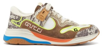 Gucci Ultrapace Leather And Mesh Trainers - Beige White