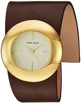 Anne Klein Women's Quartz Metal and Leather Dress Watch, Color:Brown (Model: AK/2652CHBN)