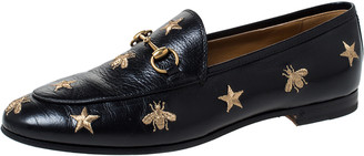 Gucci Black Leather Jordaan Embroidered Bee Horsebit Slip On Loafers Size 39