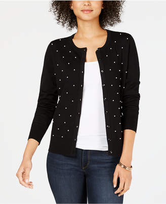 Charter Club Pearl Embellished Button-Down Cardigan