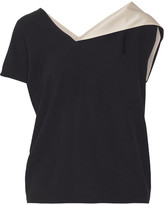 Lanvin Satin-trimmed Crepe Top - Black