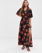 Qed London QED London wrap front kimono maxi dress in tropical print