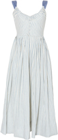 Luisa Beccaria Linen Stretch Stripes Ribbon Dress