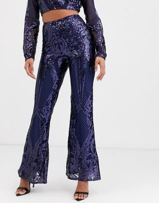 Club L London sequin baroque wide leg trouser in navy