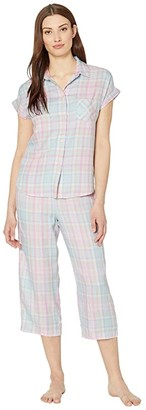 Lauren Ralph Lauren Twill Woven Short Sleeve Dolman His Shirt Capri Pants Pajama Set (Multi Plaid) Women's Pajama Sets