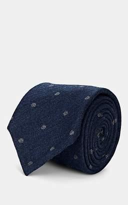 Melange Home Bigi Men's Polka Dot Wool Necktie - Blue