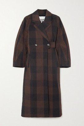 Ganni Belted Double-breasted Checked Cotton-blend Coat - Brown