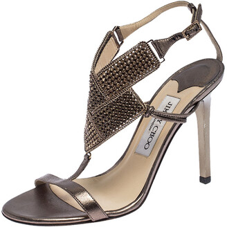 Jimmy Choo Metallic Bronze Leather Crystal Embellished Ankle Strap Sandals Size 36.5