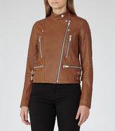 Reiss Alessia Leather Biker Jacket