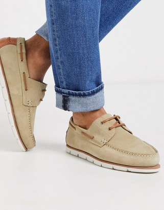 ASOS DESIGN boat shoes in stone suede with white sole