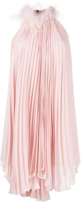 Styland Feather-Trim Pleated Dress
