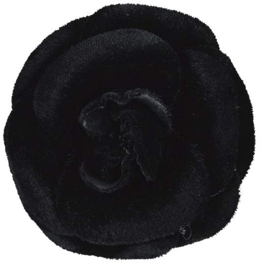 Chanel Black Velvet Camellia & Gold Tone Metal Clasp Brooch Pin