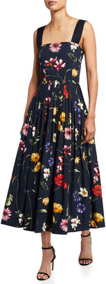 Oscar de la Renta Floral Square-Neck Pleated Midi Dress