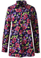 Lands' End Women's No Iron Tunic Top-Tibetan Red Floral