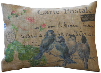 "Polkadot Apple Pillows Blue Birds Burlap Pillow, 12""x16"""