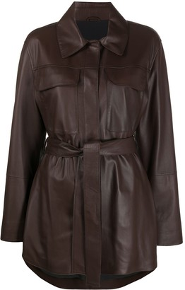 Brunello Cucinelli Belted Leather Jacket