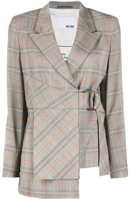 Each X Other Checked Side Buckle Blazer