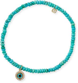 Sydney Evan 14k Arizona Turquoise & Evil Eye Bracelet