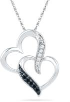Zales Enhanced Black and White Diamond Accent Interlocking Hearts Pendant in 10K White Gold