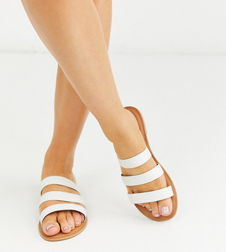 Asos DESIGN Wide Fit Farren leather flat sandals in white
