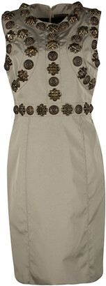 Burberry Beige Metal Embellished Sleeveless Dress M