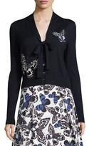 Carolina Herrera Butterfly-Appliqué Tie-Neck Cardigan, Navy
