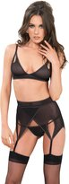 Leg Avenue Women's Vixen Mesh Bra High Waist Garter Belt and G-String