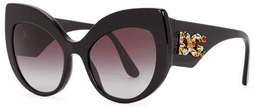 Dolce & Gabbana Black Cat-eye Sunglasses