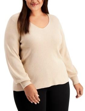 Calvin Klein Size Balloon-Sleeve Sweater