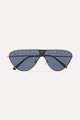 Stella McCartney Aviator-style Crystal-embellished Silver-tone And Acetate Sunglasses - Dark denim