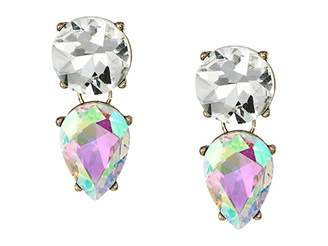 Steve Madden Iridescent Round and Teardrop Rhinestone Clip Earrings