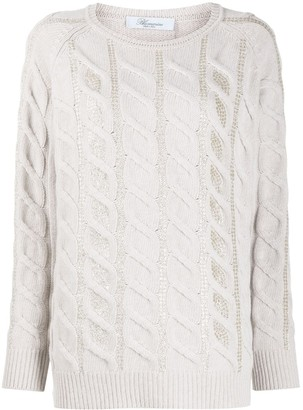 Blumarine Embellished Cable Knit Jumper
