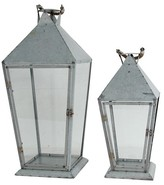 A&B Home Set of 2 Metal & Glass Lanterns - Silver