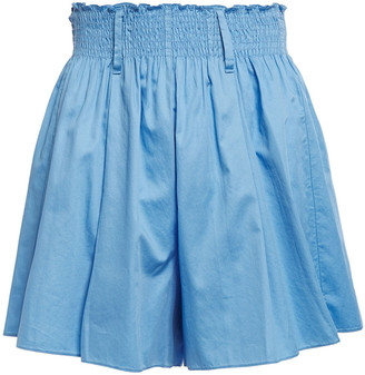 Forte Forte Shirred Gathered Cotton-poplin Shorts