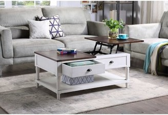 Longshore Tides Ballou Lift Top Coffee Table with Storage Table Base Color: White