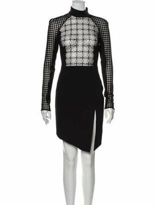 David Koma Lace Pattern Knee-Length Dress Black