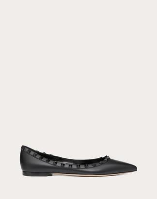 Valentino Rockstud Calfskin Leather Ballet Flat With Tonal Studs Women Black Calfskin 100% 35