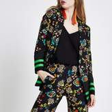 River Island Womens Black floral print longline blazer