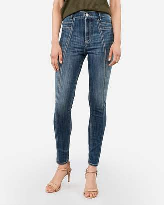 Express Super High Waisted Stitched Jean Ankle Leggings