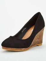 Wallis Platform Wedge Court Shoe - Black