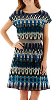 JCPenney FIFTH AND PARK Fifth & Park Short-Sleeve Chiffon Blouson Dress