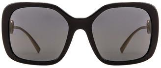 Versace Medusa Square Sunglasses in Black & Grey   FWRD
