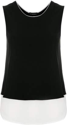 Emporio Armani contrast-trim layered tank top