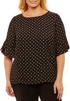 Liz Claiborne 3/4 Sleeve Crew Neck Georgette Blouse-Plus
