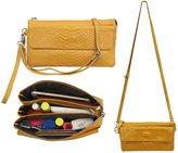 Shalwinn Women's Genuine Leather Crossbody Purse Shoulder bag Cellphone Pouch Purse with Long Shoulder Strap and Wrist Strap