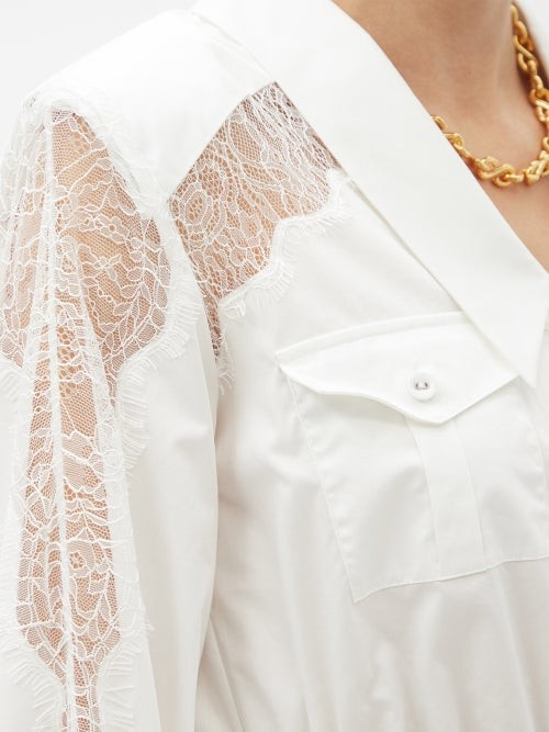 Thumbnail for your product : Self-Portrait Chantilly-lace And Cotton-poplin Mini Shirt Dress - White