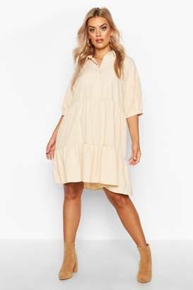 boohoo Plus Puff Sleeve Smock Shirt Dress